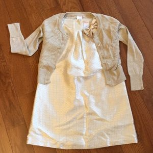 Gymboree gold dress. 5T and gold cardigan sweater